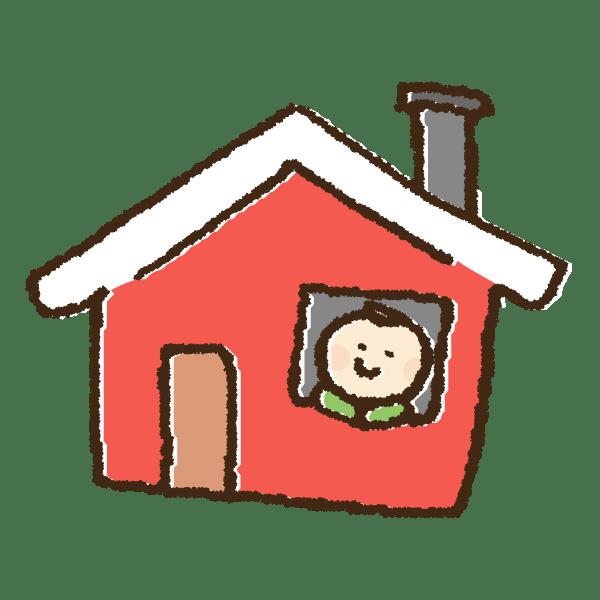 クリスマスにサンタを待つ男の子と家の手書きイラスト素材