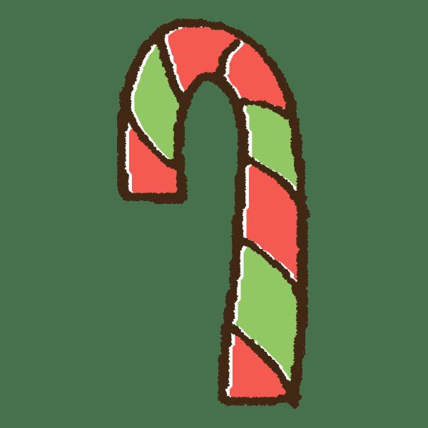 クリスマスのスティック飴の手書きイラスト素材
