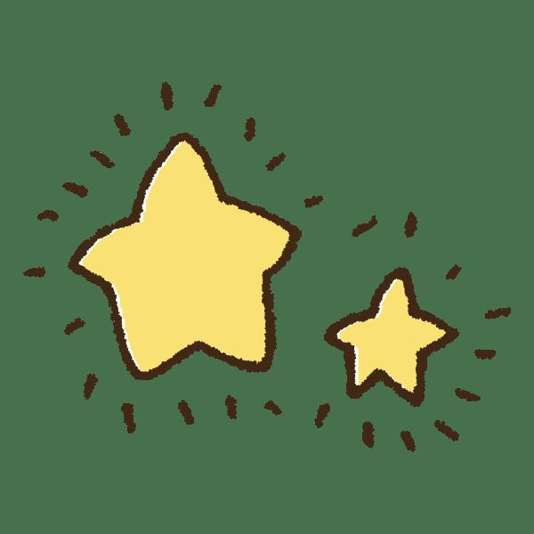 ピカピカ光る星の手書きイラスト素材