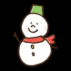 クリスマス衣装の雪だるまの手書きイラスト素材
