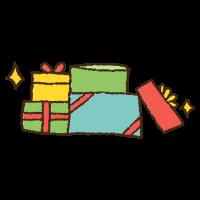 クリスマスのプレゼントの山の手書きイラスト素材