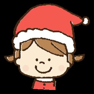 クリスマスコスチュームで仮装する子供・女の子の手書きイラスト素材