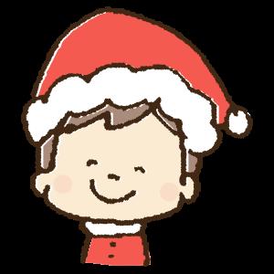 クリスマスコスチュームで仮装する男の子の手書きイラスト素材