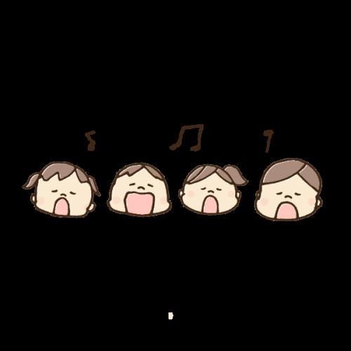 元気に歌う子供たちのイラスト