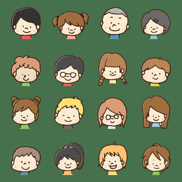 たくさんの子供の顔のイラスト