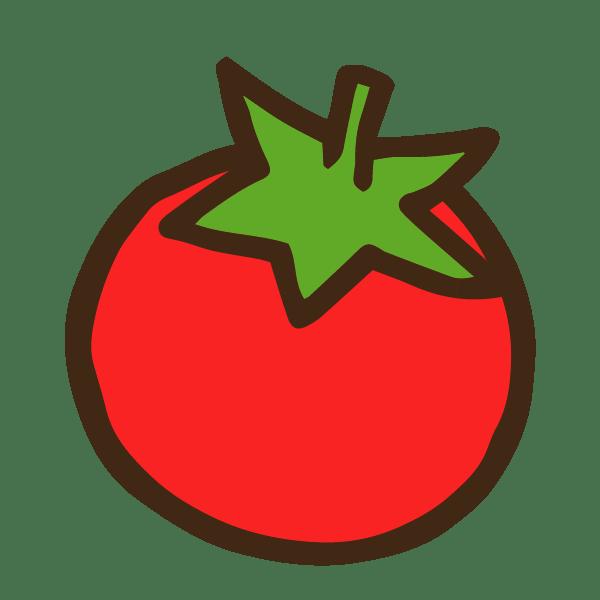 ヘタ付きトマトのかわいい手書き商用無料イラスト素材
