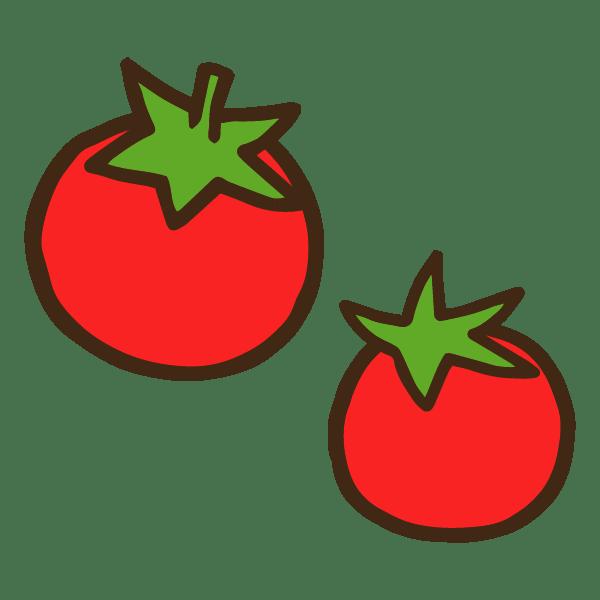 2個のヘタ付きミニトマトのかわいい手書き商用無料イラスト素材