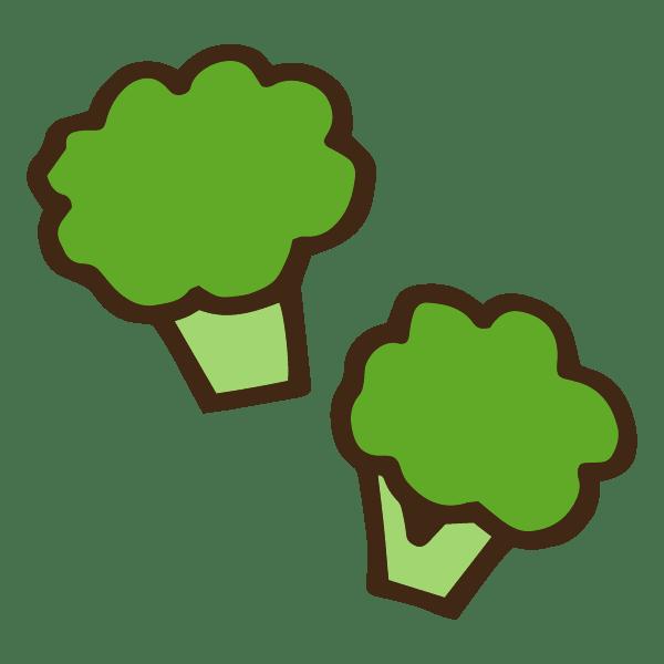 2つの茹でたブロッコリーのかわいい手書き商用無料イラスト素材