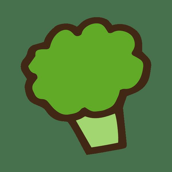 茹でたブロッコリーのかわいい手書き商用無料イラスト素材