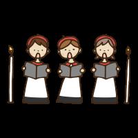 ゴスペルガウンのクリスマスの聖歌隊のかわいい手書き商用無料イラスト素材