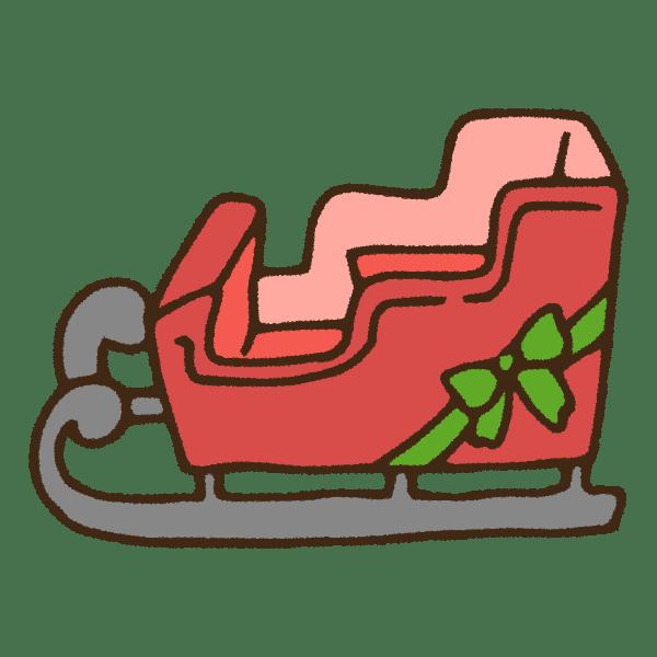 クリスマスのソリのかわいい手書き商用無料イラスト素材