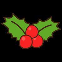 クリスマスホーリー(西洋ヒイラギ)のかわいい手書き商用無料イラスト素材