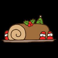 クリスマスの苺サンタのブッシュドノエルのかわいい手書き商用無料イラスト素材