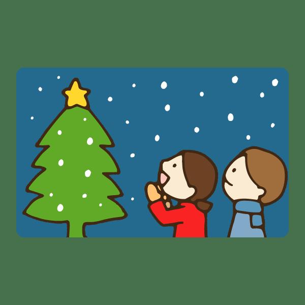 ホワイトクリスマスのかわいい手書き商用無料イラスト素材