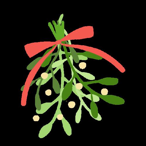 クリスマスのヤドリギ(宿り木)のかわいい手書き商用無料イラスト素材
