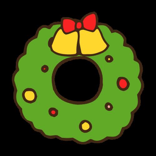 クリスマスリースのかわいい手書き商用無料イラスト素材