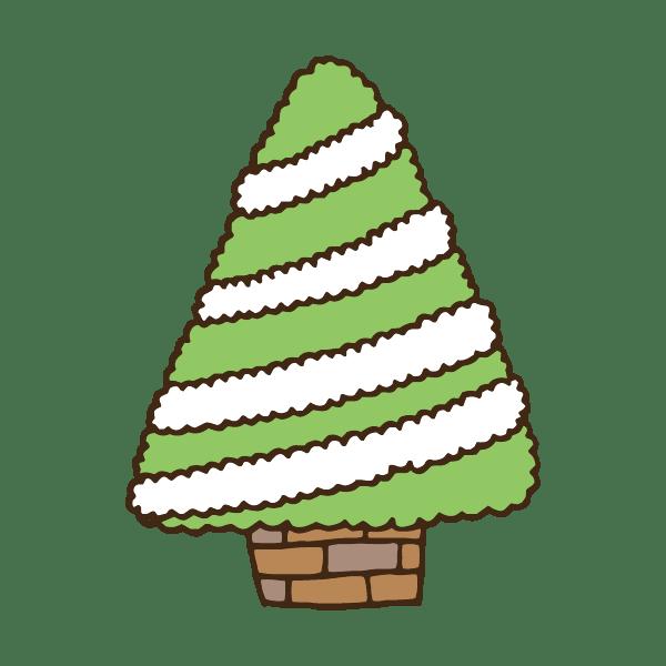 飾り付け前のクリスマスツリーのかわいい手書き商用無料イラスト素材