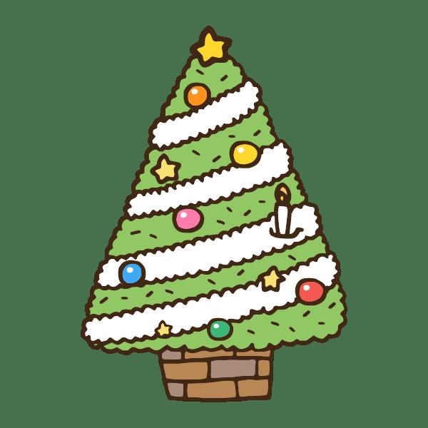綺麗な飾り付けのクリスマスツリーのかわいい手書き商用無料イラスト素材