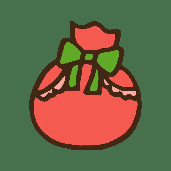 クリスマスプレゼントの袋のかわいい手書き商用無料イラスト素材
