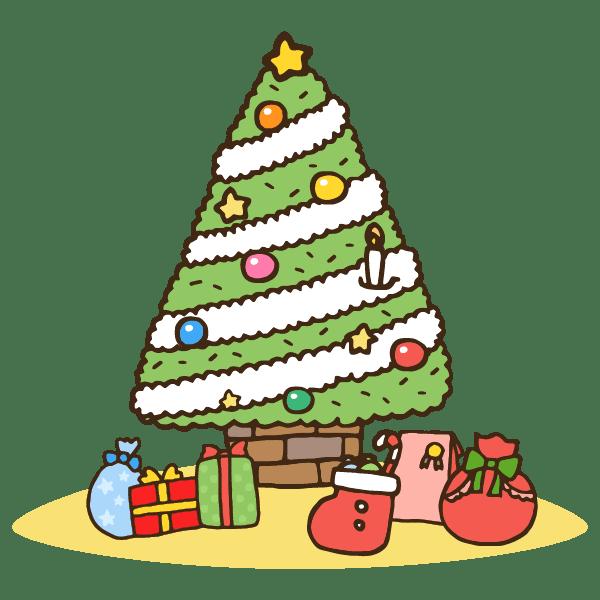 クリスマスツリーとたくさんのプレゼントのかわいい手書き商用無料イラスト素材
