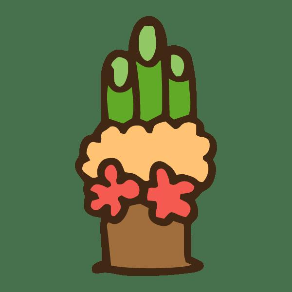 お花のガーリーな門松のかわいい手書き商用無料イラスト素材