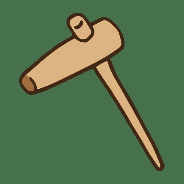 正月の餅つき道具の杵のかわいい手書き商用無料イラスト素材