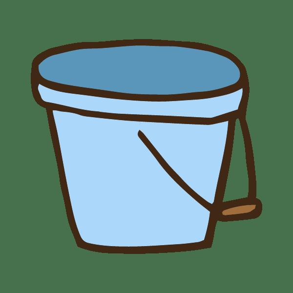 掃除用の青いバケツのかわいい手書き商用無料イラスト素材