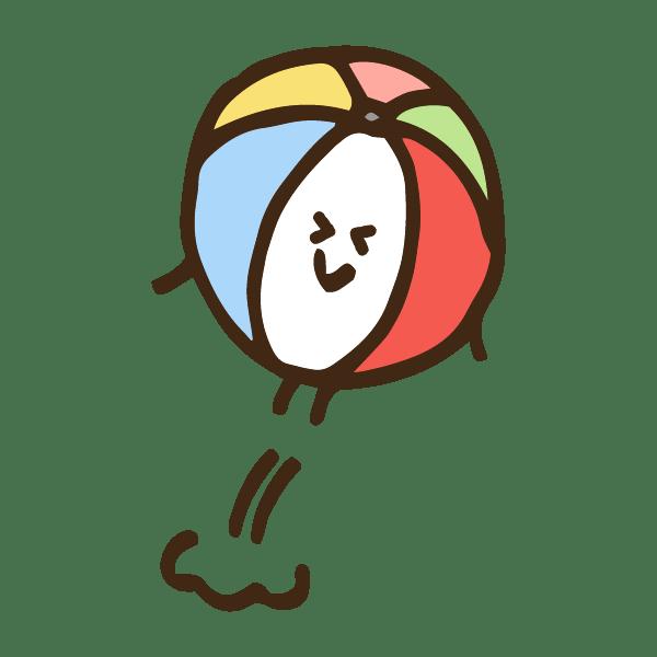 ジャンプする紙風船のキャラクターのかわいい手書き商用無料イラスト素材