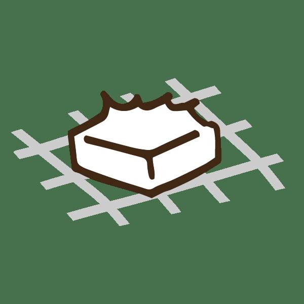 焼きすぎて破裂したお餅のかわいい手書き商用無料イラスト素材