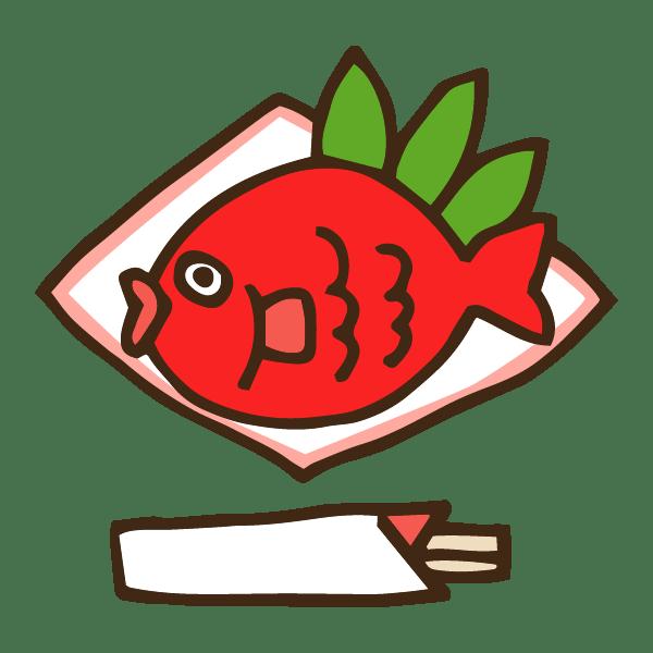 正月のお祝い鯛の塩焼きのかわいい手書き商用無料イラスト素材