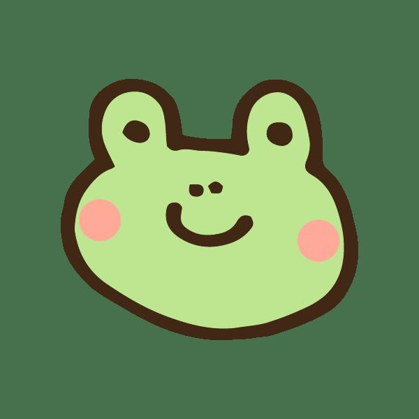 カエルの顔のアイコンのかわいい手書き商用無料イラスト素材