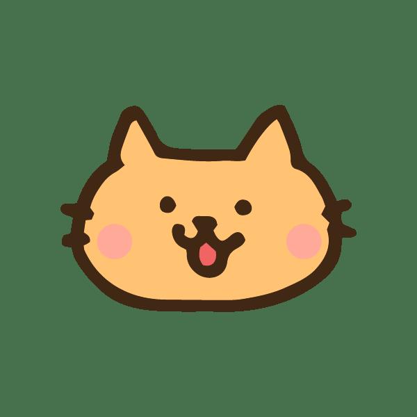 猫の顔のアイコンのかわいい手書き商用無料イラスト素材