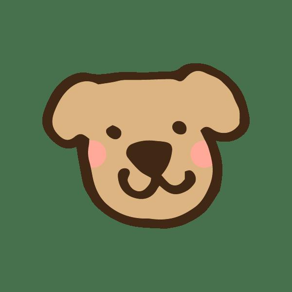 犬の顔のアイコンのかわいい手書き商用無料イラスト素材