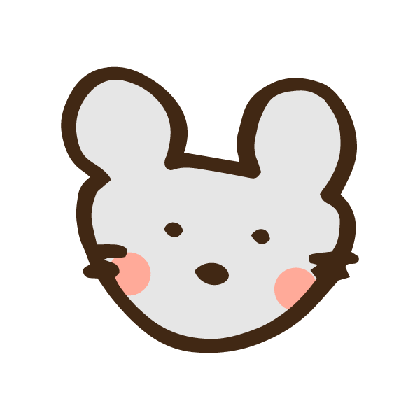 ネズミの顔のアイコンのかわいい手書き商用無料イラスト素材