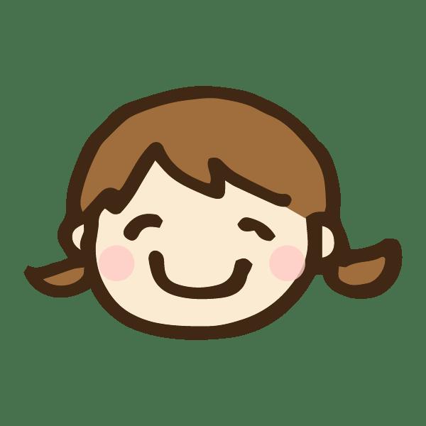 女の子の顔のアイコンのかわいい手書き商用無料イラスト素材