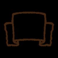 手書きのかわいいリボンのバナーのフリーイラスト素材png商用無料、白黒