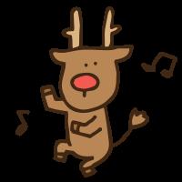 楽しそうに踊る動物・トナカイのかわいい手書き商用無料イラスト素材