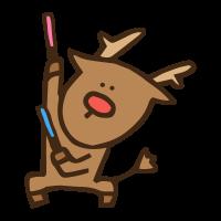 オタ芸を踊る動物トナカイ、アイドルオタクのかわいい手書き商用無料イラスト素材