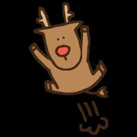 喜ぶジャンプする動物トナカイのかわいい手書き商用無料イラスト素材