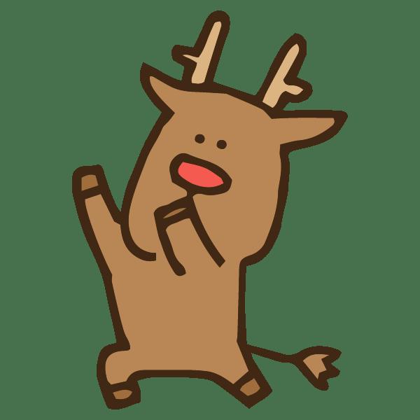 不思議なダンスを踊る動物トナカイのかわいい手書き商用無料イラスト素材