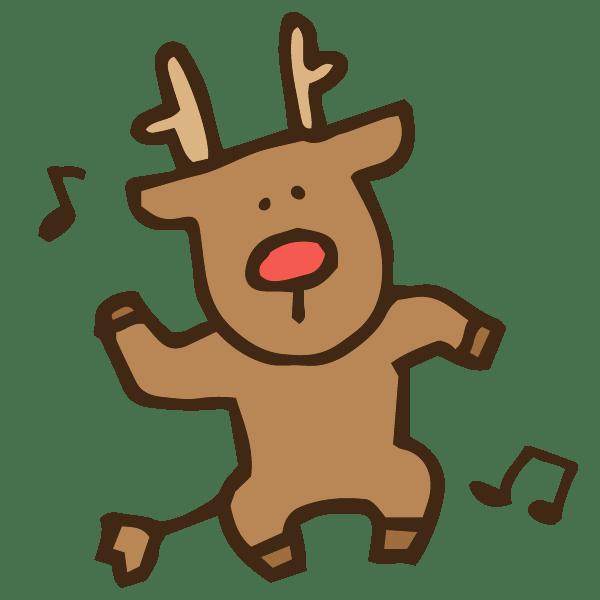 ノリノリでダンスを踊るちょっとマッチョなトナカイのかわいい手書き商用無料イラスト素材
