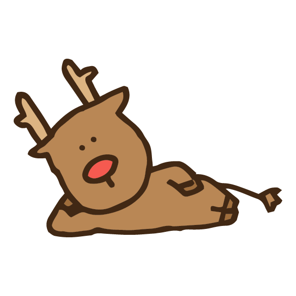 ぐうたらくつろいで寝そべっている動物トナカイのかわいい手書き商用無料イラスト素材