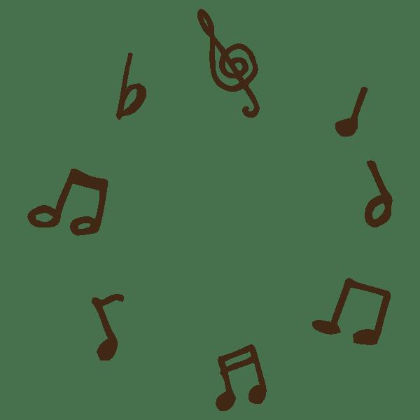 ト音記号や音符などの演奏記号、符号の円形フレームのかわいい手書き商用無料イラスト素材